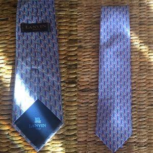 LANVIN PARIS Men's Blue Silk Tie